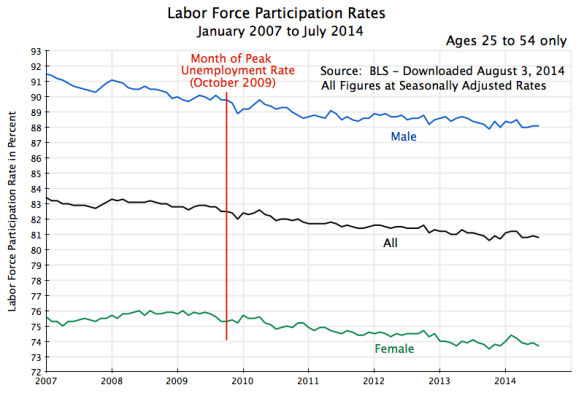 Labor Force Participation Rates, Jan 2007 to July 2014
